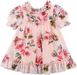 Kmbangi Toddler Baby Girls Flower Print Ruffles Princess Dress