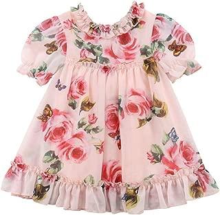 KMBANGI Toddler Baby Girls Flower Print Ruffles Princess Dress Sundress Clothes Outfit