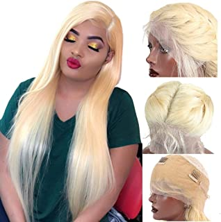 Lace Front Wigs Glueless 360 Lace Frontal Human Hair Wig 150% Density Straight Pre Plucked With Baby Hair for Black Women 613 Bleached Blonde 14 inches