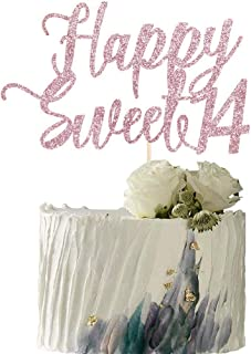 YUINYO Happy Sweet 14 Cake Topper -Cheers to 14 Year - Happy 14th Birthday Cake Topper- Sweet Fourteen /14th Wedding Anniv...
