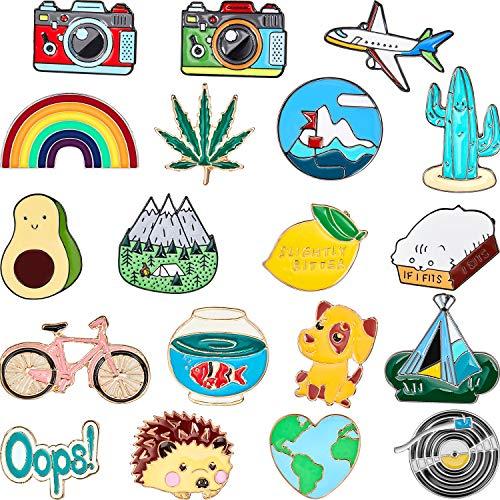 20 Stücke Nette Emaille Anstecknadel Set Karikatur Brosche Abzeichen Brosche Pins für Kleidung Taschen Jacken Zubehör DIY Handwerk (Stil Set 2)