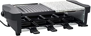 Todeco - 3 in 1 Raclette Grill, Natural Stone Grill Set - Tamaño: 52 x 20,5 x 12,8 cm - Material: Elemento Calefactor de Acero Inoxidable 304 - Negro