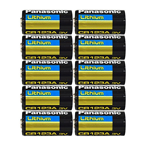 Panasonic CR123A Lithium 3V Photo Lithium Batteries, 0.67' Dia x 1.36' H (17.0...