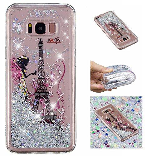 Shinyzone Glitzer Flüssigkeit Hülle für Samsung Galaxy S8,Mädchen Turm kreativ 3D Gemalt Muster...