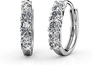 Yellow Chimes Crystals from Swarovski White Crystal Hoop Earrings for Women and Girls
