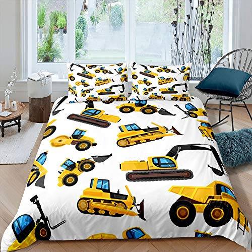 richhome Vibrant Vehicle Cars Truck Duvet Cover Girl Super King Excavator Tractor Bedding Set Chic Yellow Orange Construction Comforter Cover