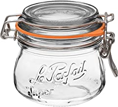 Le Parfait Super Jar - 250ml French Glass Canning Jar w/Round Body, Airtight Rubber Seal & Glass Lid, 8oz/Half Pint (Pack ...