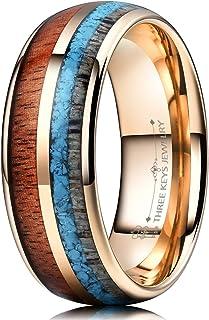 THREE KEYS JEWELRY 8mm Tungsten Wedding Ring Koa Wood Antler Turquoise Arrows Inlay Vikings Hunting Band