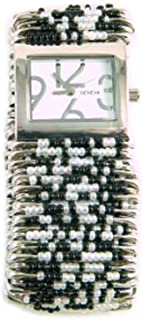 PlanetZia Safety Pin Stretch Watch with Black and Pearl Beads WT-BP