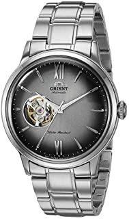 "Orient Men's""Helios' Stainless Steel Japanese-Automatic/Hand Winding Open-Heart Display"