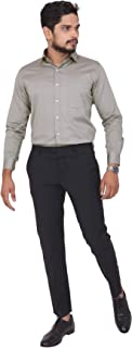South India SHOPPING MALL Adam Parker Silver Solid Cotton Men Shirt