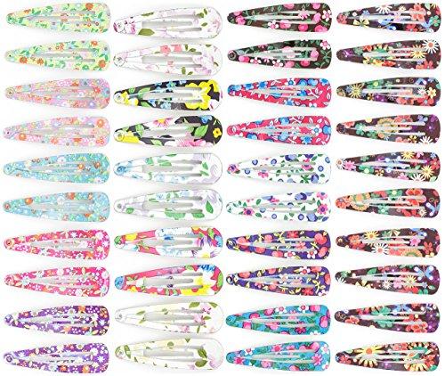 Klamsie verschieden Sets Haarspangen für Mädchen Girls Frauen Kinder I Haarschmuck Hairclips farbenfroh & bunt I Fascinators Haarstyling Accessoires (40 x Haarspange Blumenmotiv)
