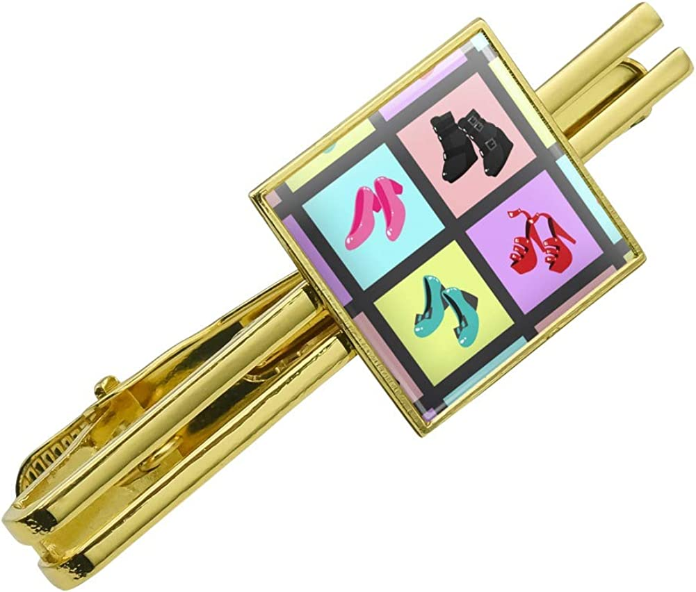 GRAPHICS & MORE Cute Shoes Pattern Heels Boots Wedges Maryjanes Set Square Tie Bar Clip Clasp Tack Gold Color
