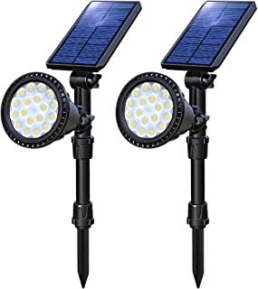 OSORD Solar Lights Outdoor, Upgraded Waterproof 18LED 2-in-1 Solar Landscape Spotlights Wall Light Adjustable Auto On/Off Solar Powered Landscape Lighting for Garden Driveway Walkway Pool (Cool White)