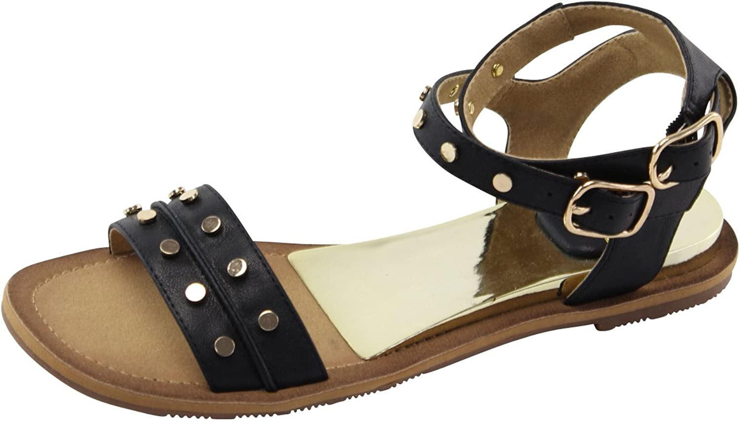Cambridge Select Women's Ankle Strappy Buckle gold Studded Flat Sandal