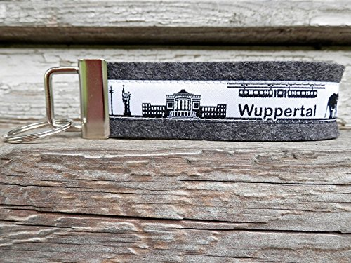 Schlüsselanhänger Schlüsselband anthrazit Wuppertal Skyline schwarz weiß!