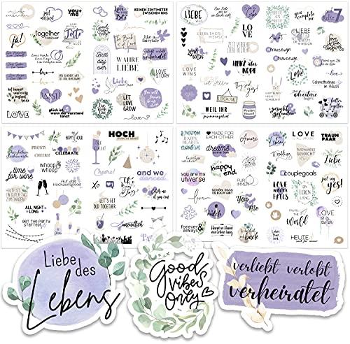 Sticker Hochzeit Gästebuch (164 Motive) - Vintage Hochzeit Aufkleber für Gästebuch oder Fotoalbum mit viel Liebe - Love Stickers für Scrapbook oder Bullet Journal - Wedding Deko mit Herz - Lavendel