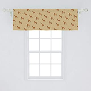 Ambesonne Boxer Dog Window Valance, Brown Cartoon Purebred Dogs with Paw Prints and Bones Kids Nursery, Curtain Valance for Kitchen Bedroom Decor with Rod Pocket, 54