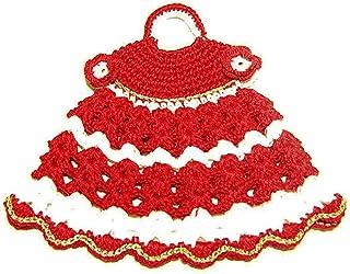 Agarradera roja y blanca en forma de vestido para Navidad de ganchillo - Tamaño: 19 cm x 16.5 cm H - Handmade - ITALY