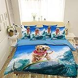 AJ WALLPAPER 3D Perro Surfeando 307 Fundas De Almohada Edredón Juego De Funda Nórdica Soltero Reina Rey 3D Foto Lecho ES Wendy (SuperKing)