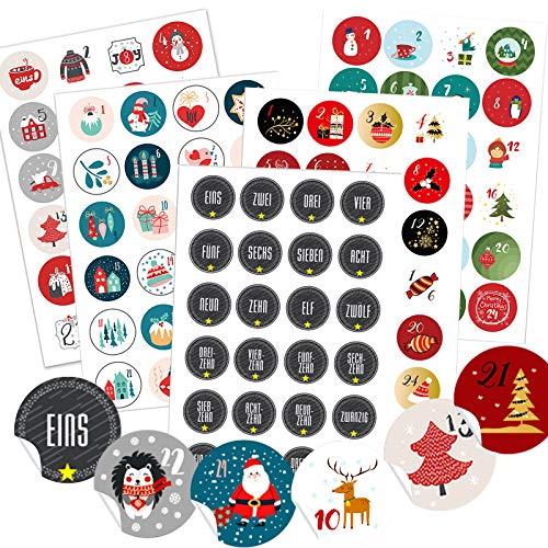 Miuezuth 5 x 24 Adventskalender Zahlen Aufkleben für 5 Weihnachtskalender, 24 Sticker Zahlen Aufkleber für Weihnachten zum Selber Basteln und Verzieren, Runde Nummern Etiketten 4 cm