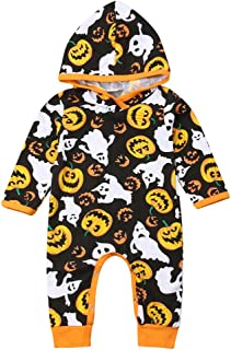 Baby Boys Girls Long Sleeve Halloween Pumpkin Hoodie Romper One-Piece Jumpsuit