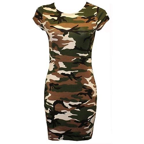 405f11139da56 RIDDLED WITH STYLE Womens Cap Sleeve Army Animal Skull Print Tunic Mini  Bodycon Top Dress Plain