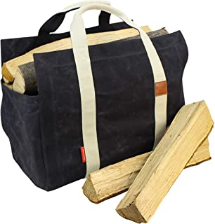 INNO STAGE Waxed Canvas Firewood Log Carrier Tote Bag with Cotton Fabric and Double Straps for Reinforce - Both Inside and Outside
