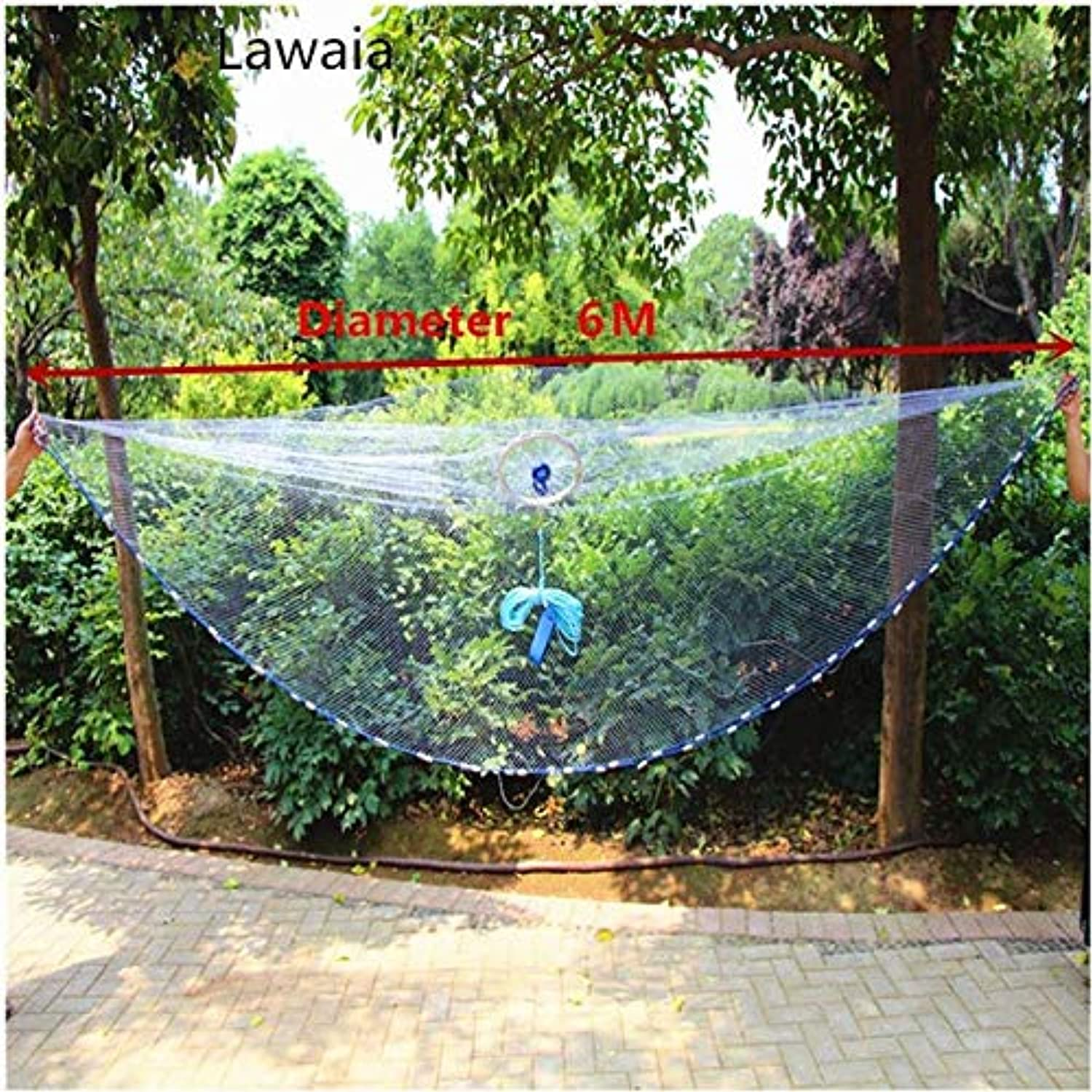 Lawaia Fishingnet with Lead Pendant Fishing Network Lead Cast Net with Ring American Style Cast Net Throwing Tool   Diameter 600cm