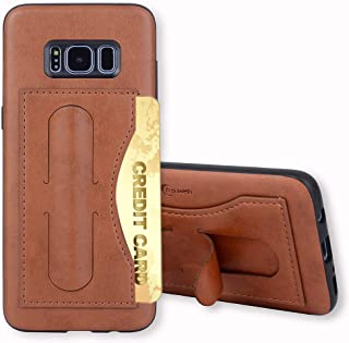 Galaxy S8 Case,Phone Cases Wallet Leather with Credit Card Holder Slot Kickstand Stand Heavy Duty Hard Rugged Shockproof Protective Cover for Samsung Galaxy S 8 8S GS8 Women Girls Men Brown