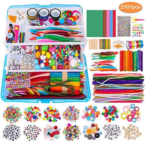 2191pcs Arts and Crafts for Kids, Toddler DIY Craft Art Supply Set with Pipe Cleaners Pony Beads Pom Poms Googly Wiggle Eyes Foam Ball Feathers, Folding Storage Box, Art Supplies Set for Adults & Kids