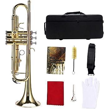 Oyunngs Instrumento de Trompeta Plana BB de latón, Kit de Instrumentos de Trompeta Profesional de Viento, para Estudiantes Principiantes, con Estuche rígido, paño de Limpieza, etc.(Oro)