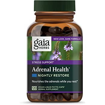 Gaia Herbs Adrenal Health Nightly Restore, Calming Sleep and Stress Support, Ashwagandha, Reishi, Cordyceps, Lemon Balm, Vegan Liquid Capsules, 120 Count