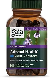 Gaia Herbs Adrenal Health Nightly Restore, Calming Sleep and Stress Support, Ashwagandha, Reishi, Cordyceps, Lemon Balm, V...