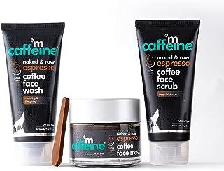 mCaffeine Espresso Deep Exfoliation Kit with Hyaluronic Acid, Natural AHA, Walnut   Face Wash, Face Scrub, Face Mask   All...