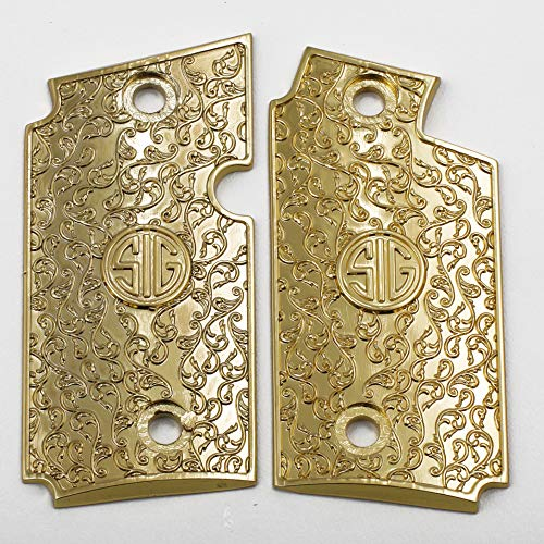 Tek_Tactical Custom Sig P238 Grips Scroll Pistol Grips Zinc Material Gold Plated