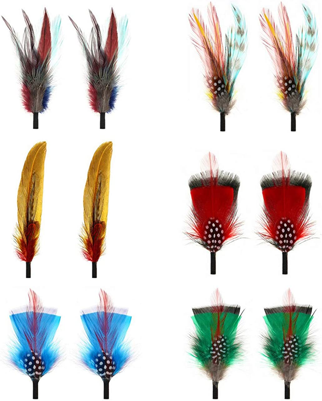 FALETO Hat Feathers 12 Pcs Assorted Natural Feather Packs Accessories