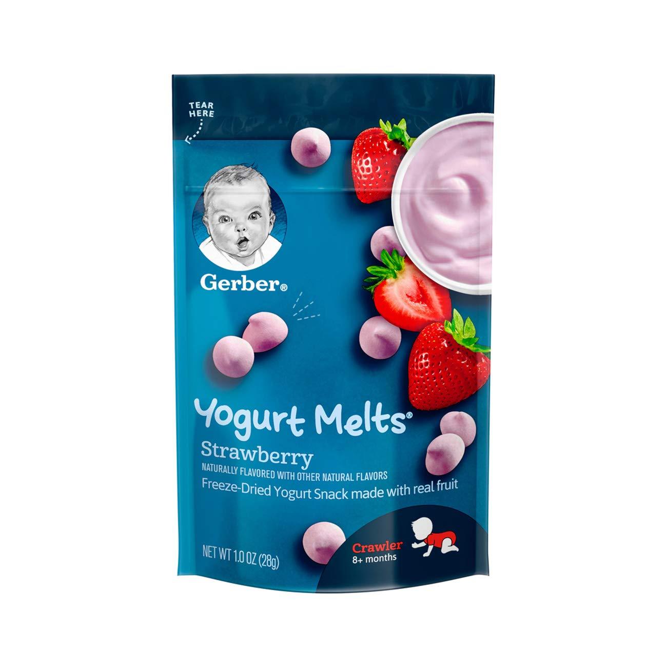 Gerber Yogurt Melts Freeze-Dried Yogurt Snack made with real fruit, Strawberry, 1 oz