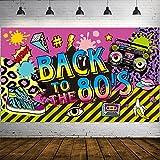 80 Jahre Party Dekoration, Extra Großer Stoff Zurück zu den 80 Jahren Hip Hop Zeichen Party Banner Foto Stand Hintergrund Wand Dekoration Kit für 80 Jahre Party Lieferungen, 72,8 x 43,3 Zoll