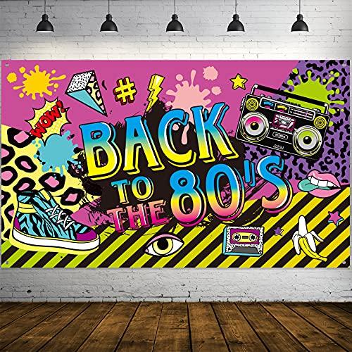 Décorations de Fête des Années 80, Signe de Hip Hop BACK TO the 80's en Tissu Extra Large Bannière Toile de Fond de Fête Décoration de Mur pour Fournitures de Fête des Années 80, 72,8 x 43,3 Pouces