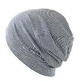 抗がん剤/医療用帽子 オーガニック ガーゼコットンキャップ (M, ネイビーボーダー)