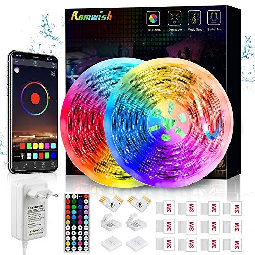 Preisvergleich Produktbild LED Strip Wasserdicht 10M,  Romwish RGB SMD 5050 Bluetooth Musik Sync LED Streifen LED Lichtband, APP Steuerung und 44Tasten RF Fernbedienung für Haus,  Küche,  Party,  TV,  Dekoration