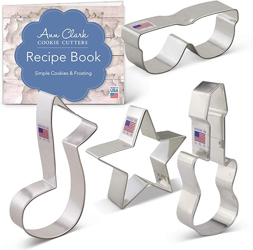 Ann Clark Cookie Cutters 4 Piece Rock Star Cookie Cutter Set With Recipe Booklet Star Electric Guitar Sunglasses Music Note