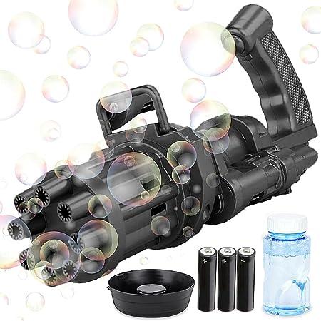 Bubble Gun, Bubble Gatling Gun, 2021 Bubble Machine for Kids, 8-Hole Bubble Blower Automatic Bubble Maker Machine, Electric Bubble Gun Toy for Boys Girls Kids Outdoor, With Bubble Water & 3 Batt-ery