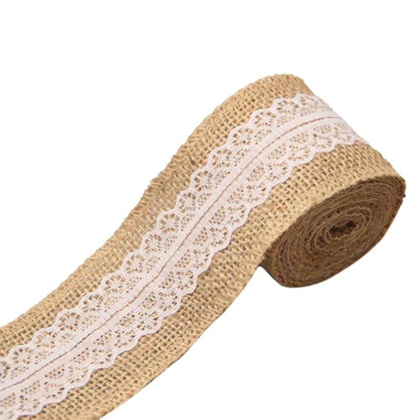 ?? Orcbee ?? _Wedding Party Decor Rustic Vintage Lace Edged Jute Hessian Burlap Ribbon Roll