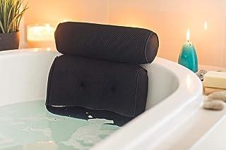 Luxurious Thick Premium Six Suction Cups Support Head, Neck, Shoulder & Back Spa Bath Pillow (Black)