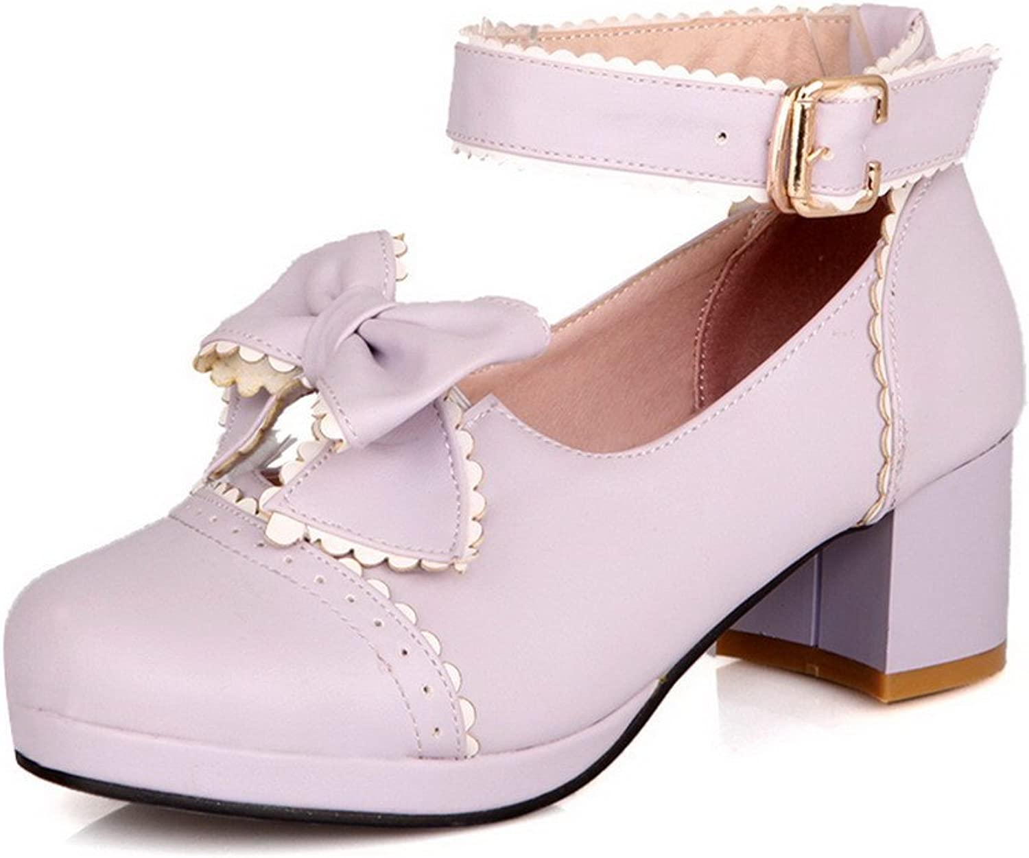 AmoonyFashion Women's Round-Toe Closed-Toe Kitten-Heels Pumps-shoes with Bows and Spire Lamella