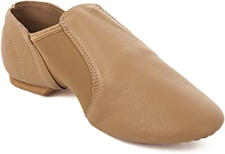 Tan Slip On Split Sole Full Grain Leather Jazz Shoe with Neoprene Inserts