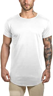 Mens Longline Gym Muscle Bodybuilding Tshirts Hipster Reflective Line Scallop Crewneck Tees Shirts Tops