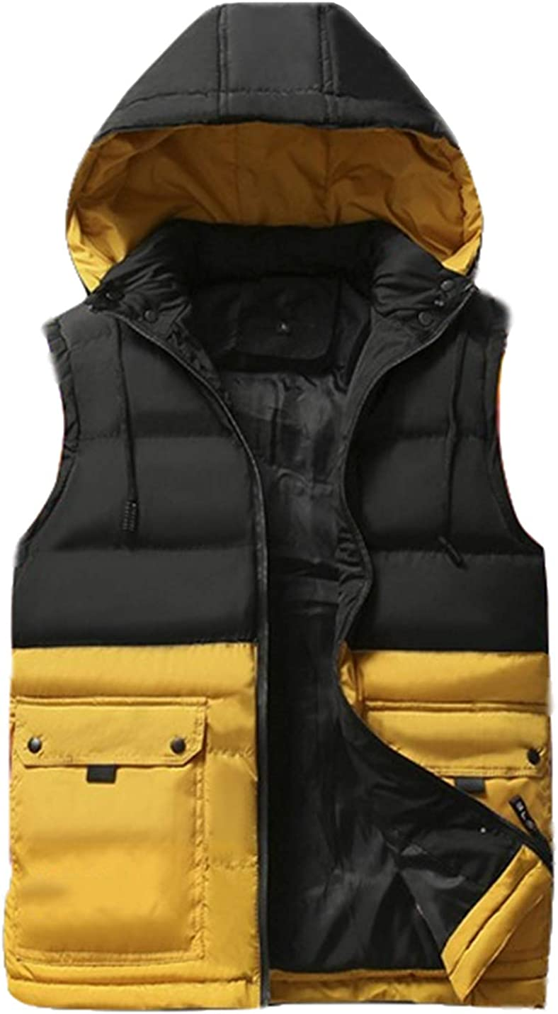 Uaneo Mens Casual Slim Sleeveless Colorblock Zipper Quilted Padded Puffy Hoodie Vest Jackets(Yellow-XS)
